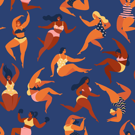 Trendy pattern with girls in summer swimsuits. Body positive Vector seamless pattern. Standard-Bild - 126388919