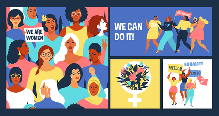 International Womens Day. We can do it Vector templates for card, poster, flyer and other users