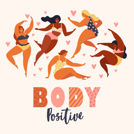 Body positive. Love your body. Happy plus size girls and active healthy lifestyle vector illustration.