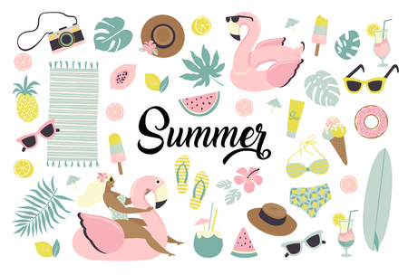 Set of cute summer icons food, drinks, ice cream, fruits, sunglasses, palm leaves and flamingo inflatable swimming pool ring. Summertime collection of scrapbooking elements for beach party. Standard-Bild - 126363528