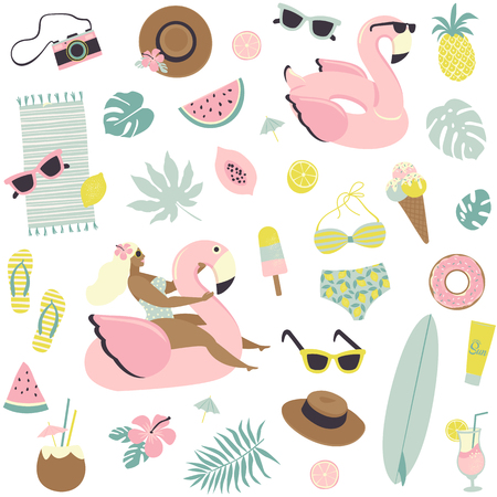 Cute summer seamless pattern fruits, drinks, ice cream, sunglasses, palm leaves and flamingo inflatable swimming pool ring. Vector design for paper, cover, fabric, interior decor.