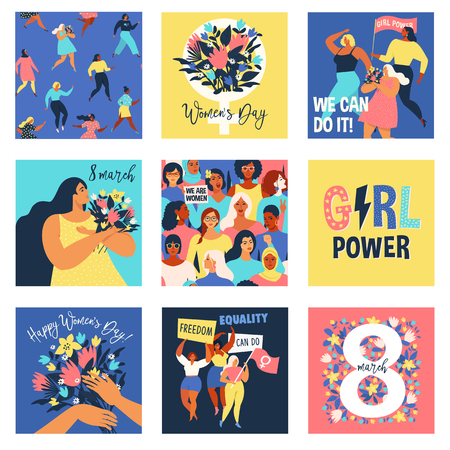 Set of vector illusttation. 8 march International Womens Day. Feminism concept template design. Standard-Bild - 126346557
