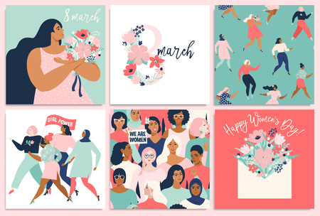 International Women s Day. Vector templates for card, poster, flyer and other users Standard-Bild - 126322672