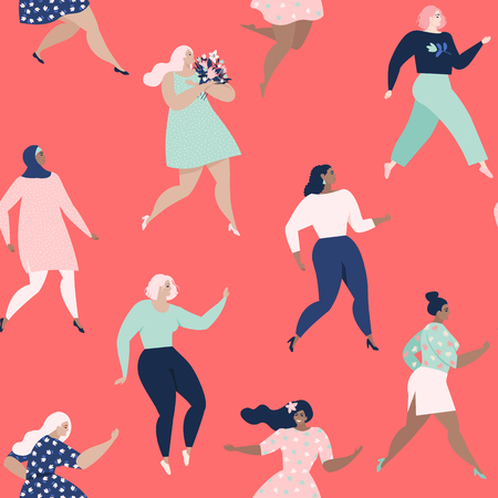 Dancing women. Womens seamless pattern. Vector templates with women different nationalities and cultures. Freedom, independence, equality. Trendy retro style vector. Standard-Bild - 126311430
