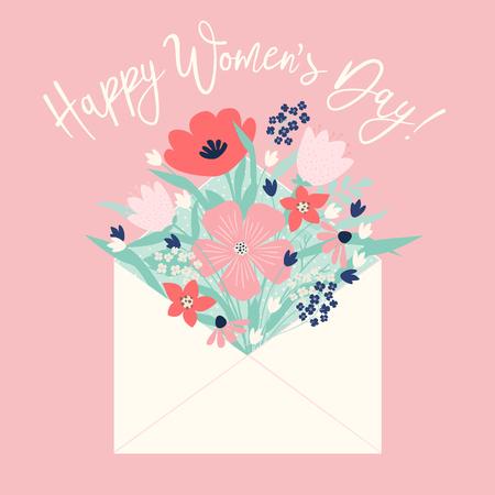 Bouquet of spring flowers in envelope. Vector greeting card. Standard-Bild - 126311431