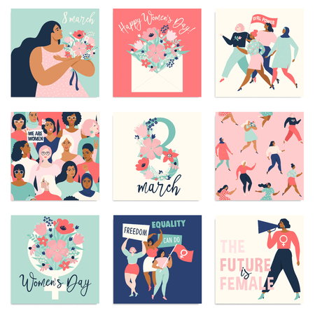 International Womens Day. Vector templates for card, poster, flyer and other users Standard-Bild - 126235324