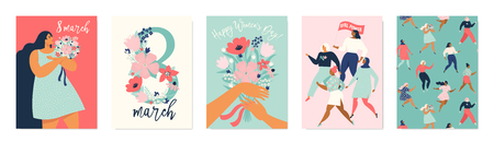 International Womens Day. Vector templates for card, poster, flyer and other users Standard-Bild - 126235325