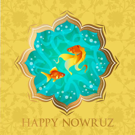 Happy Nowruz Persian New Year illustration Goldfish symbol of life. Happy New Year. Vector Illustration.