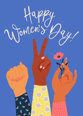 La main de la femme avec son poing levé. Pouvoir des filles. Notion de féminisme. Illustration vectorielle de style réaliste dans des couleurs goth pastel roses isolées sur blanc. Autocollant, conception graphique de patch.