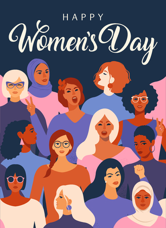 Female diverse faces of different ethnicity poster. Women empowerment movement pattern International womens day graphic in vector.