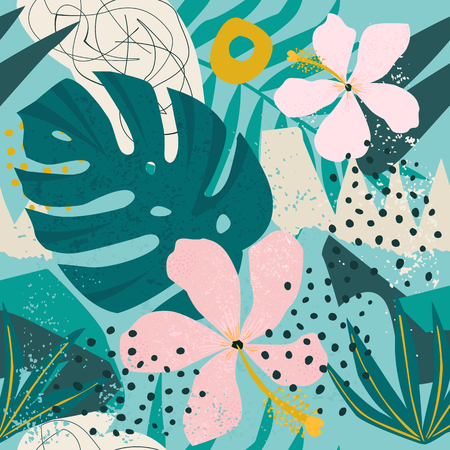 Tropical flowers and palm leaves on background. Seamless Vector pattern.