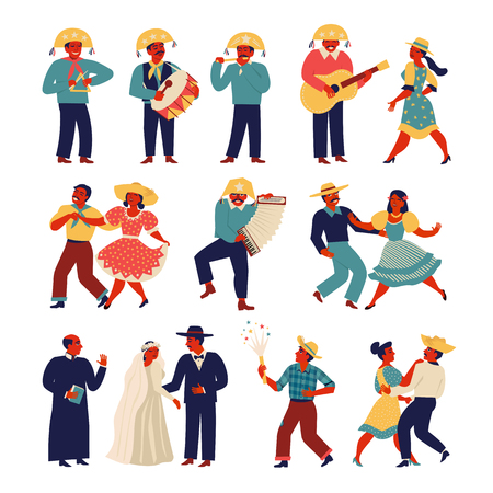 Brazilian people wearing traditional costume for Junina Party set. Vector templates for Latin American holiday the June party of Brazil. Banque d'images - 125506066