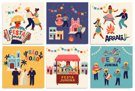 Festa Junina. Vector templates for Latin American holiday, the June party of Brazil. Design for card, poster, banner, flyer, invitation and over use Illusztráció