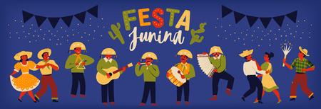 Brazilian Traditional Celebration Festa Junina. Portuguese Brazilian Text saying Fair. Festa de Sao Joao. Festive Typographic Vector Art