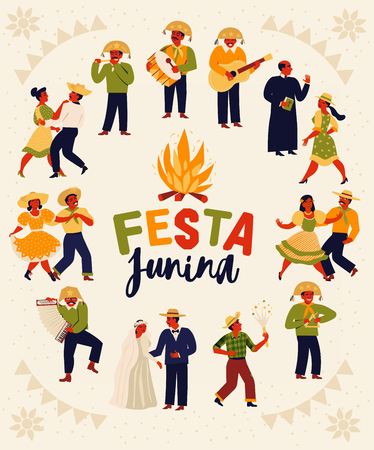 Festa Junina. Vector templates for Latin American holiday, the June party of Brazil. Design for card, poster, banner, flyer, invitation and over use Иллюстрация