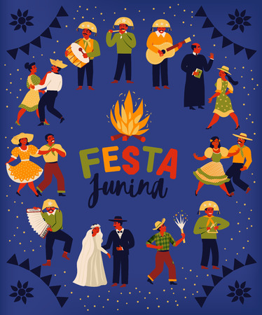 Festa Junina. Vector templates for Latin American holiday, the June party of Brazil. Design for poster and over use Archivio Fotografico - 125428084