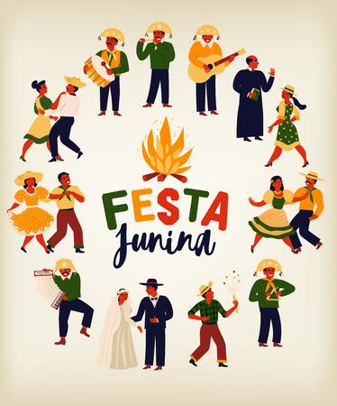 Festa Junina Brazil June Festival. Vector templates. Design element for card, banner and other use Standard-Bild - 125428085