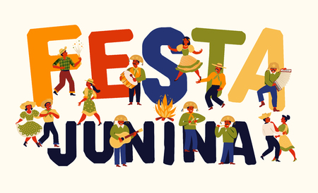 Festa Junina. Vector templates for Latin American holiday, the June party of Brazil Design for banner and over use. Çizim
