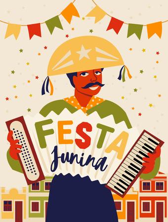 Musician with an accordion. Brazilian holiday Festa Junina. June party. Vector illustration Illustration