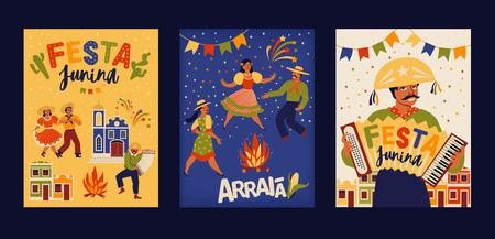 Festa Junina Brazil June Festival. Vector templates. Design element for card, poster banner, and other use.