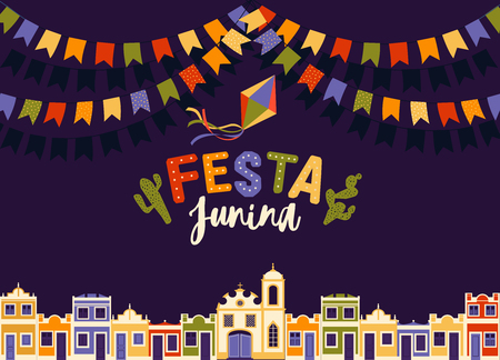 June party of Brazil, bright night the background with colonial houses, church lights and colored flags and the words in Portuguese Festa Junina illustration with place for announcement invitation. Illustration