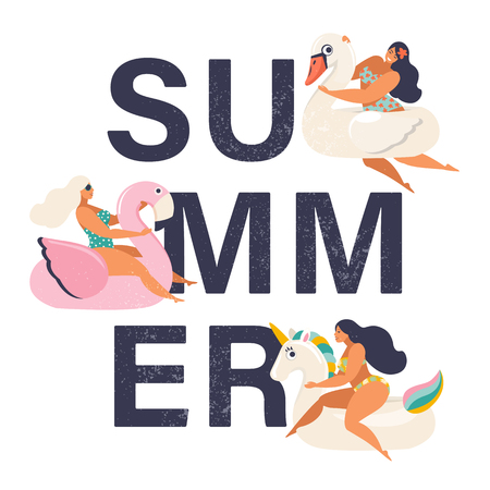 Summer time illustration card with pin up girl swimming on animal float circle in ocean waves with calligraphy Summer party.