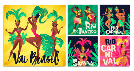 Brazilian samba posters. Carnival in Rio de Janeiro dancers wearing festival costume is dancing. Vector illustration. Standard-Bild - 125294241