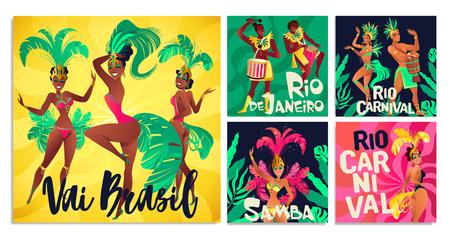 Brazilian samba posters. Carnival in Rio de Janeiro dancers wearing festival costume is dancing. Vector illustration. Illustration