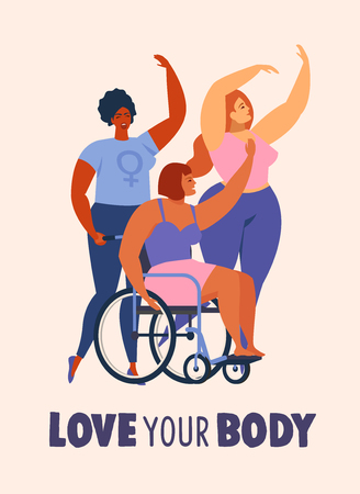 Feminism body positive cards, posters, banners, cover with love to own figure, female freedom, girl power isolated vector illustration.  イラスト・ベクター素材