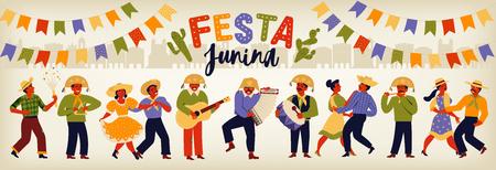 Festa Junina Brazil June Festival. Vector templates. Design element for card, banner.
