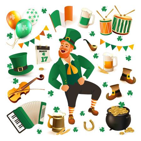 Set of illustrations for celebrating St. Patricks Day. Leprechaun, hat, pot of gold clover and flag.