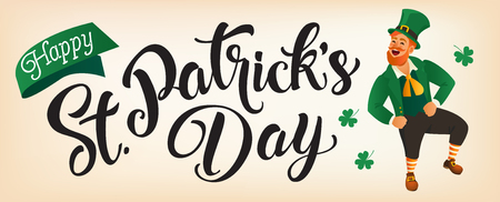 Happy St Patricks Day lettering with Leprechaun jumping or dancing. Saint Patricks Day greeting card. Typed text, calligraphy. For leaflets, brochures, invitations, posters or banners.