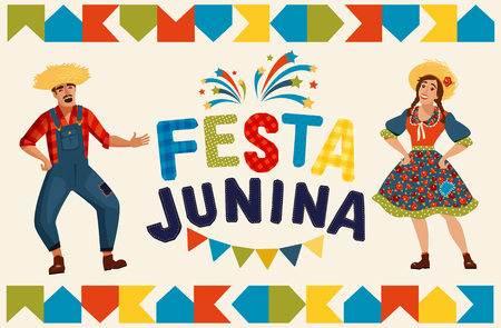 Festa Junina illustration - traditional Brazil June festival party. Vector illustration. 일러스트
