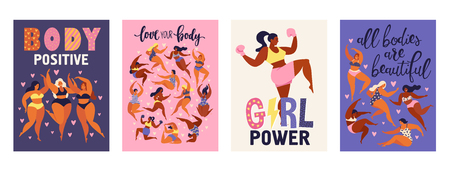 Feminism body positive vertical cards with love to own figure, female freedom girl power isolated vector illustration.