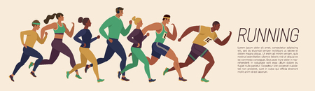 Jogging people. Runners group in motion. Running men and women sports background. People runner race, training marathon, jogging and running illustration.