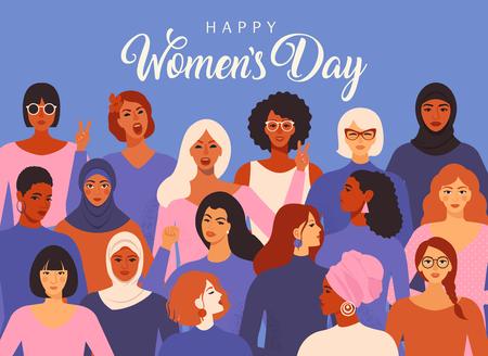 Weibliche verschiedene Gesichter unterschiedlicher ethnischer Zugehörigkeit. Bewegungsmuster zur Stärkung der Frauen. Grafik zum internationalen Frauentag im Vektor.