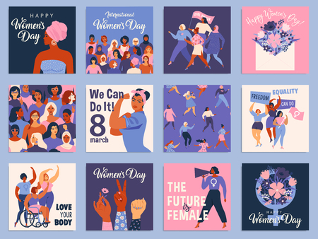 International Women s Day set. Vector templates for card, poster, flyer and other users. Standard-Bild - 118804025