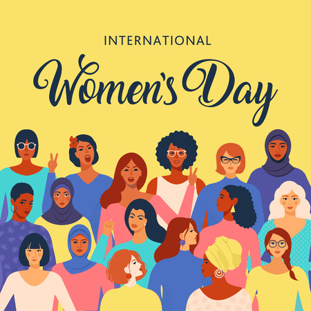 Female diverse faces of different ethnicity poster. Women empowerment movement pattern. International womens day graphic in vector. Illustration