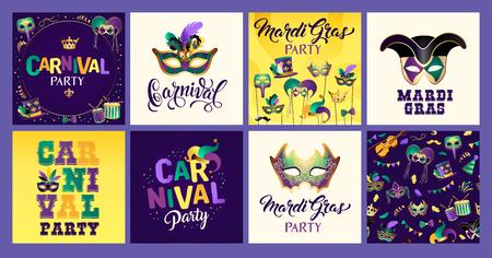 Mardi Gras carnival set icons, design element.