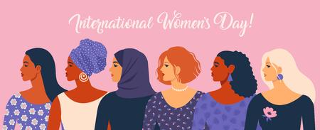 Día Internacional de la Mujer. Ilustración de vector con mujeres de diferentes nacionalidades y culturas. Ilustración de vector