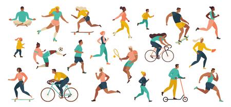Groep mensen die sportactiviteiten uitvoeren in het park die yoga- en gymnastiekoefeningen doen, joggen, fietsen, balspel spelen en tennissen. Buiten trainen. Platte cartoonvector.