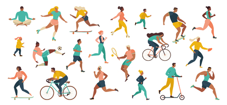 Group of people performing sports activities at park doing yoga and gymnastics exercises, jogging, riding bicycles, playing ball game and tennis. Outdoor workout. Flat cartoon vector. Imagens - 124691401