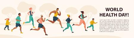 Ludzie Jogging Sport Family Fitness Run szkolenia Światowy dzień zdrowia 7 kwietnia płaskie wektor ilustracja.