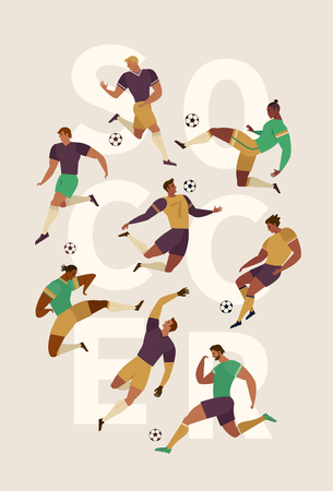 Football soccer player set of isolated characters of teammates referee and competition trophy. Design element for card, poster, flyer and other use