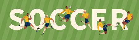 Soccer Players Kicking Ball and goalkeepers. Set Collection of different poses Vector Illustration.