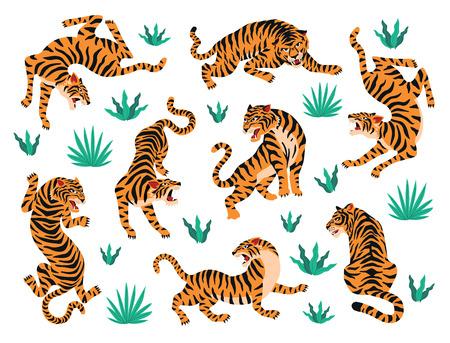 Vector conjunto de hojas tropicales de tigres. Ilustración de moda.