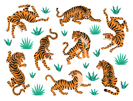 Vector set tijgers tropische bladeren. Trendy illustratie.