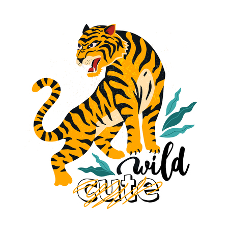 Wild. No cute. Vector illustration of tiger with tropical leaves. Trendy design for card, poster, t shirt and other use.