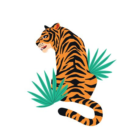 Vector card with cute tiger on white background and tropical leaves. Beautiful animal print design for t-shirt. Standard-Bild - 132183392