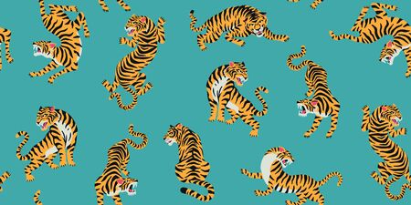 Vector seamless pattern with cute tigers on background. Fashionable fabric design. Standard-Bild - 132183402